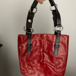 YvesSaintLaurent red leather handbag, excellent